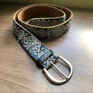 Vintage Belt with geometrical patterns,brown suede